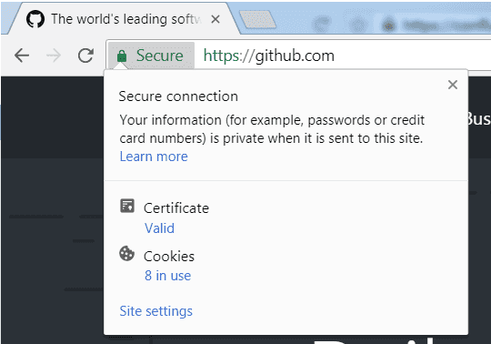 Click Chrome secure tab in address bar